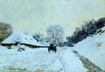 tablou claude monet   cart on the snow covered road with saint simeon farm, 1865