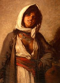 tablou nicolae grigorescu - tiganca din ghergani