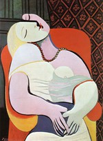 tablou picasso- woman asleep in an armchair [1932]