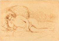 tablou renoir - woman reclining (femme couchee), 1906
