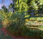 tablou claude monet - the japanese bridge (the water lily pond and path by the water), 1900