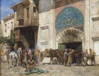 tablou alberto pasini - cavaliers devant la porte du bazar