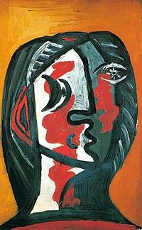 tablou picasso - femme en gris et rouge sur fond ocre, 1926