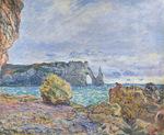 tablou claude monet   etretat, the beach and the porte d'aval, 1883