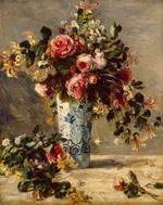 tablou renoir - roses and jasmine in a delft vase, 1890 91