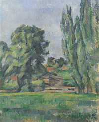 tablou paul cézanne - landscape with poplars