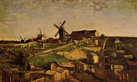 tablou van gogh - view of montmartre with windmills