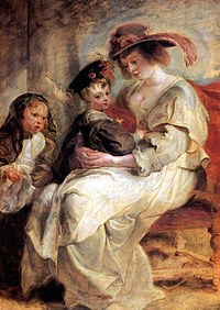 tablou rubens- portrait of helena fourment with children claire jeanne and francois (1636