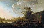 tablou aelbert cuyp - landscape with shepherd and flock, 1650