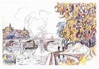 tablou paul signac - paris, royal bridge and the gare d'orsay, 1929