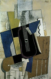 tablou picasso - guitare et journal, 1915