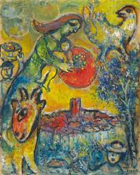 Tablou canvas marc chagall - soleil au dessus de vence,1964