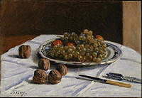 tablou alfred sisley - still life - grapes and walnuts on a table, 1876