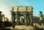 Tablou canaletto - view of the colosseum arch of constantine, 1742-1745