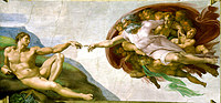 tablou michelangelo - the creation of adam (2), sistine chapel (detail)