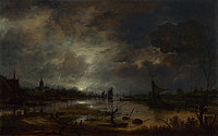 tablou aert van der neer - a river near a town, by moonlight