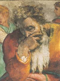 tablou michelangelo - prophet jeremiah, sistine chapel (detail)