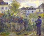 tablou Renoir - claude monet painting in his garden at argenteuil, 1883