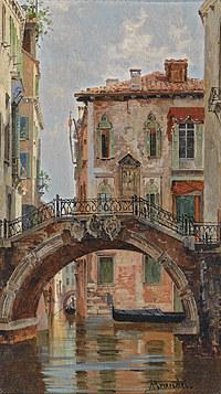 tablou antonietta branseis - a bridge over a venetian canal