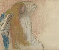 tablou edgar degas - woman combing her hair, 1894