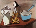Tablou canvas picasso- pitcher, candle and casserole [1945]