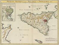tablou harta antica sicilia,1780