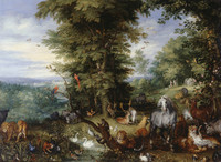 Tablou canvas jan brueghel the elder - adam and eve in the garden of eden, 1615
