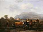 Tablou canvas nicolaes pietersz berchem - italian landscape with travelers,  1655