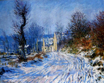 tablou claude monet   road to giverny in winter, 1885