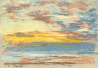 tablou eugene boudin - costa y cielo, 1888
