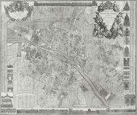 tablou harta antica paris, 1728
