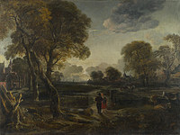 tablou aert van der neer - an evening view near a village