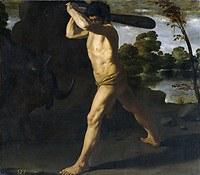 tablou francisco de zurbaran - cycle of hercules. battle of hercules with the cretan bull (1634)
