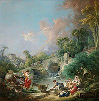 tablou francois boucher - the laundress (1768)