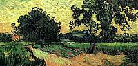 tablou van gogh - landscape with the chateau of auvers at sunset