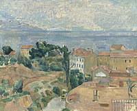 tablou paul cezanne - view on the l'estaque, 1882