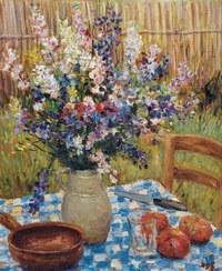 tablou marcel dyf - still life - vase de flowers and oranges