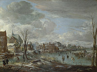 tablou aert van der neer - a frozen river near a village, with golfers and skaters