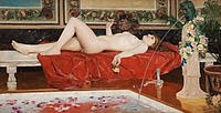 Tablou canvas georg pauli - roman bath, odalisque, 1881