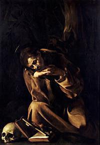 tablou caravaggio - saint francis in meditation