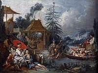 tablou francois boucher - fishermen (1742)