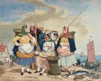 tablou richard dadd - fish market by the sea
