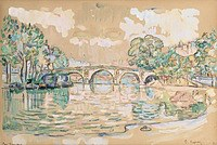 tablou paul signac - paris, the marie bridge, 1910