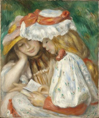 tablou renoir - two girls reading, 1890
