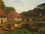 tablou claude monet   farmyard in normandy, 1863