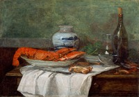 tablou Eugene Boudin - still life with lobster on a white tablecloth, 1853 56