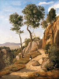 tablou jean baptiste camille corot - view of volterra, 1838