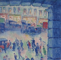 tablou theodore earl butler - the roman court and the station of saint lazare, 1922