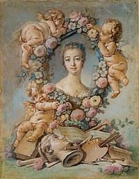 tablou francois boucher - portret marquise de pompadour (1754)