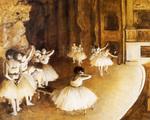 tablou 1874  edgar degas - repettition d'un ballet sur la scene